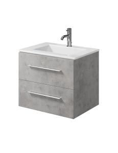 Creto Ares Тумба подвесная 2 ящика 60 см с раковиной, серый