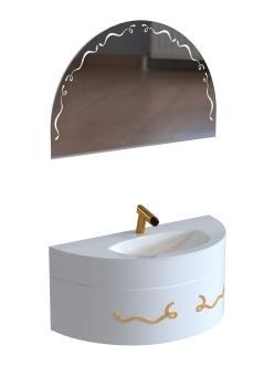 De Aqua Эскалада 117 – Тумба подвесная с ручкой Арт и раковиной из лить-го мрамора