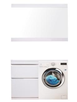 El Fante Даймонд 120 Мебель напольная под стиральную машину, Белый глянец