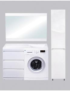 El Fante Даллас 120 Мебель под стиральную машину с 3 ящиками, белый глянец, левая/правая