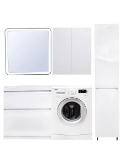 El Fante Даллас 140 Мебель напольная под стиральную машину с 2-мя ящиками, Белый глянец