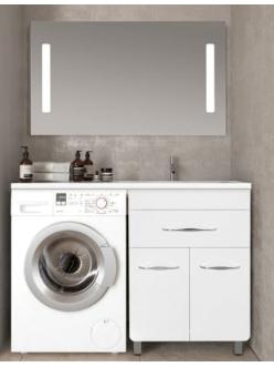 El Fante Валеро 120 Мебель напольная под стиральную машину, Белый глянец