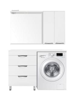 El Fante Жасмин 120 (3 ящ.) Мебель напольная под стиральную машину, Белый глянец