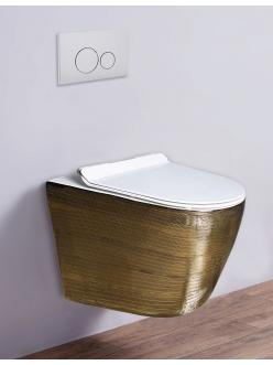 Esbano TERUEL Унитаз подвесной безободковый золото