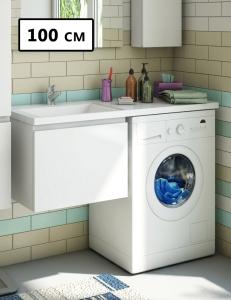 Эстет Dallas Luxe 100 Тумба подвесная с раковиной под стиральную машину, 1 ящик