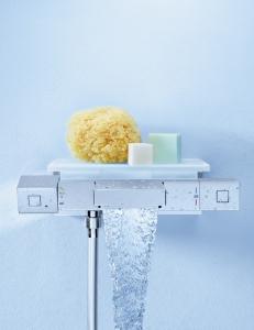 Grohe Grohtherm Cube 34502000 смеситель для ванной с термостатом и полочкой