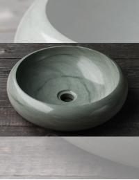 Natural Stone Blue Kecil Раковина накладная из андезита, круглая 40 см
