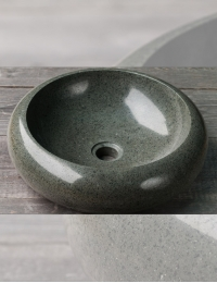 Natural Stone Green Kecil Раковина накладная из андезита, круглая 40 см