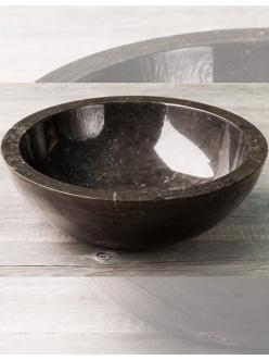 Natural Stone 45 Black Круглая накладная раковина из натурального чёрного мрамора