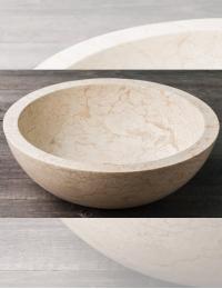 Natural Stone Раковина-чаша из натурального кремового мрамора, круглая 45 см