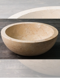 Natural Stone Раковина-чаша из натурального кремового мрамора, круглая 40 см