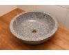 Круглая накладная раковина Natural Stone Grey 45 из натурального серого мрамора