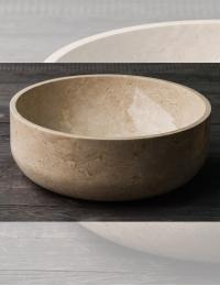 Natural Stone Раковина-чаша круглая из натурального кремового мрамора 40 см