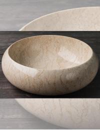 Natural Stone 40 Donut Cream Круглая накладная раковина из кремового мрамора