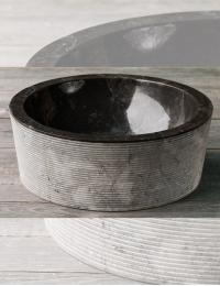 Natural Stone 40 Drum Alur Раковина из чёрного мрамора с ручной отделкой