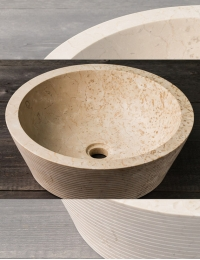 Natural Stone 45 Сream Alur Раковина из кремового мрамора с ручной отделкой