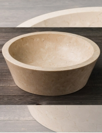 Natural Stone 45 Сream Besar Раковина-чаша круглая из кремового мрамора