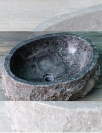 Natural Stone Раковина-чаша из натурального серого мрамора, природной формы