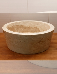 Natural Stone 40 Сream Kecil Раковина-чаша круглая из кремового мрамора