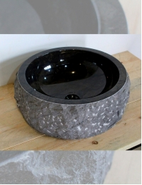 Natural Stone Marmo Black 45 Раковина из чёрного мрамора с колотым краем