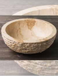 Natural Stone 40 Cream Раковина из кремового мрамора с колотым краем