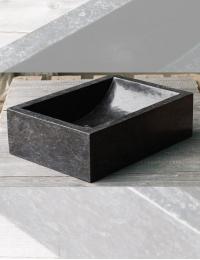 Natural Stone Prau Black Прямоугольная раковина из чёрного мрамора, 50х35 см