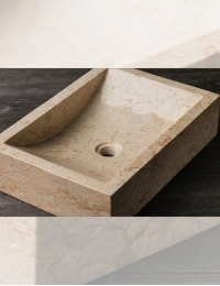 Natural Stone Prau Kecil Прямоугольная раковина из кремового мрамора, 50х35 см