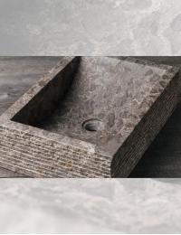 Natural Stone Prau Grey Прямоугольная раковина с колотым декором, 50х35 см