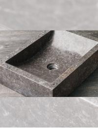 Natural Stone Prau Kecil Прямоугольная раковина из серого мрамора, 50х35 см