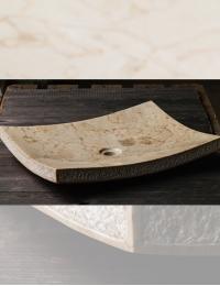 Natural Stone Накладная прямоугольная раковина из кремового мрамора