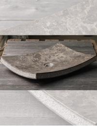 Natural Stone Накладная прямоугольная раковина из серого мрамора