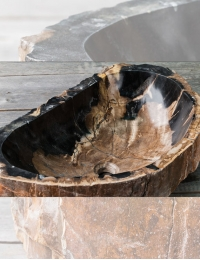 Natural Stone Hitam Накладная раковина-чаша из окаменелого дерева