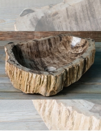Natural Stone Iris Накладная раковина-чаша из окаменелого дерева