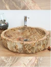 Natural Stone Kediri Накладная раковина-чаша из окаменелого дерева
