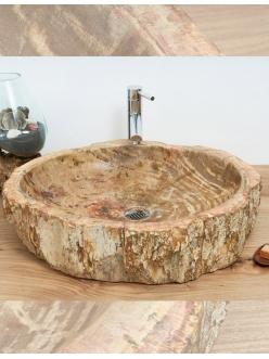 Раковина-чаша Kediri Stone Surya из натурального окаменелого дерева