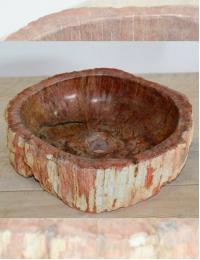 Natural Stone Petra Uniq Red Накладная раковина-чаша из окаменелого дерева