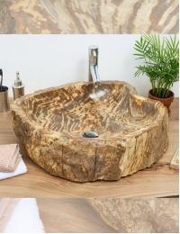 Natural Stone Surya Накладная раковина-чаша из окаменелого дерева