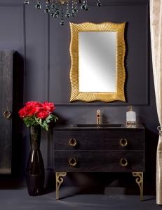 NeoArt Black Wood 100 столешница моноблок стекло, ручки Drop, зеркало Soho