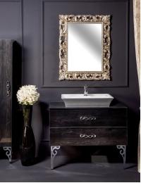 NeoArt Black Wood 100 столешница стекло, раковина и зеркало Neoart, ручки Wave