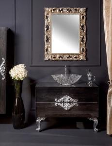 NeoArt Black Wood 100 столешница стекло, раковина Хрусталь, ручки Neoart