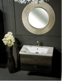 NeoArt Black Wood 80 раковина керамическая, зеркало Shine, ручки Moon