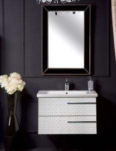 NeoArt Белая кожа 80 керамическая раковина, зеркало Vogue, ручки Luce