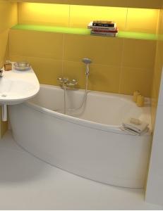 Ravak Avocado ванна акриловая асимметричная 160x75 см