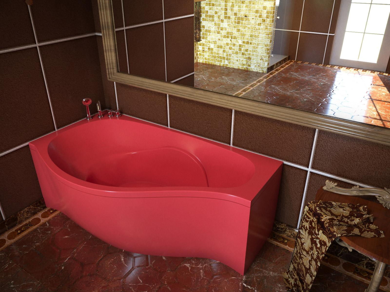 Ванна асимметричная Aquastone Корсика 170 в цвете по палитре RAL