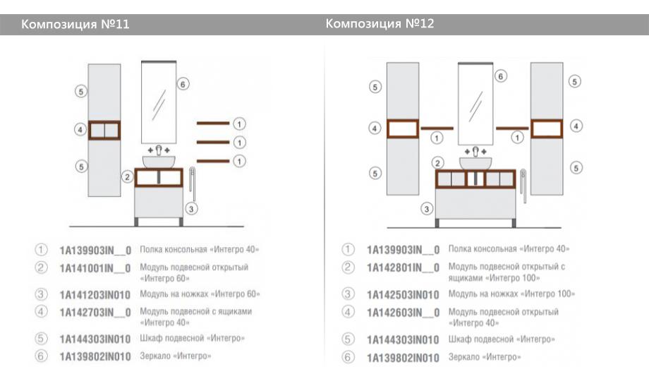 Комплект модульной мебели Акватон Интегро – Композиция №11 и Композиция №12