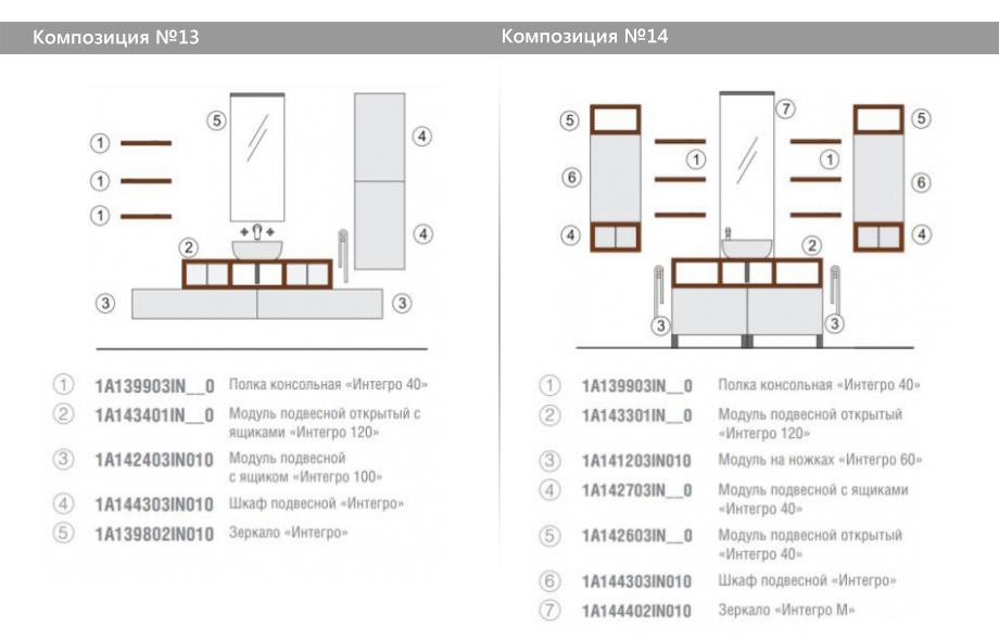 Комплект модульной мебели Акватон Интегро – Композиция №13 и Композиция №14