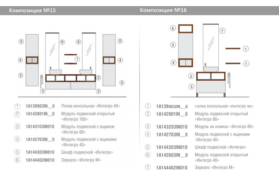 Комплект модульной мебели Акватон Интегро – Композиция №15 и Композиция №16