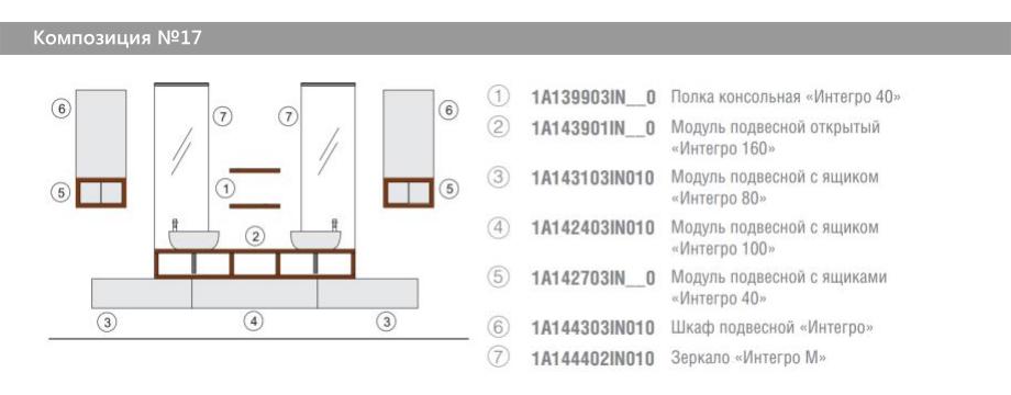 Комплект модульной мебели Акватон Интегро – Композиция №17