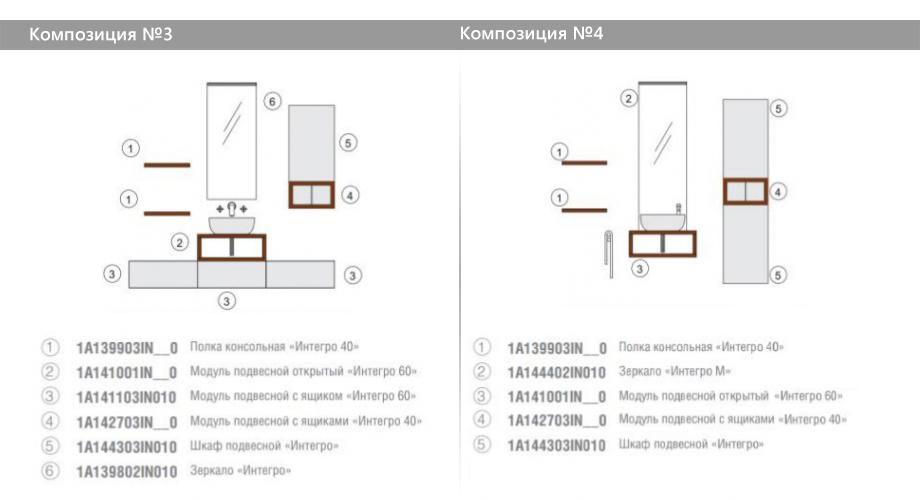 Комплект модульной мебели Акватон Интегро – Композиция №3 и Композиция №4
