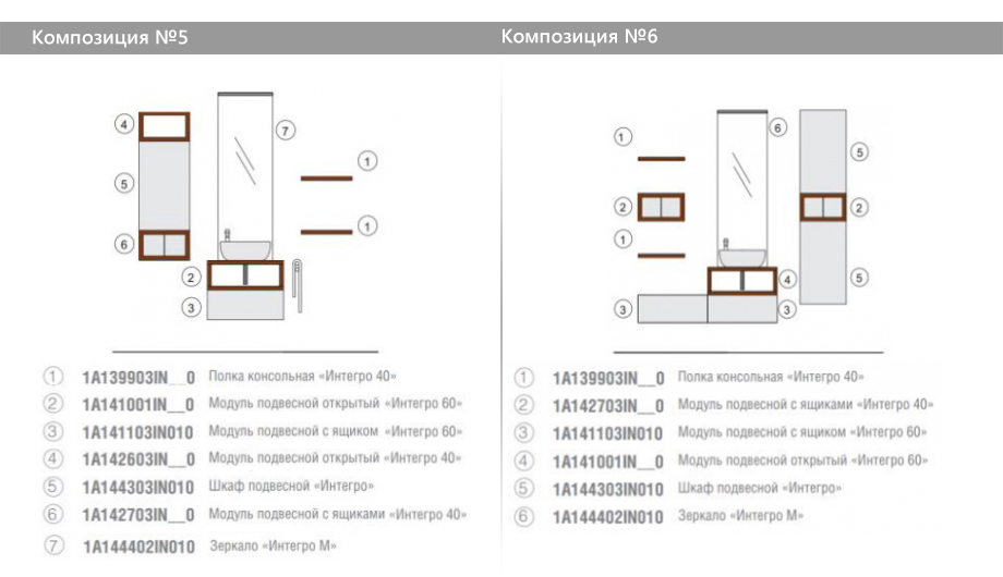 Комплект модульной мебели Акватон Интегро – Композиция №5 и Композиция №6